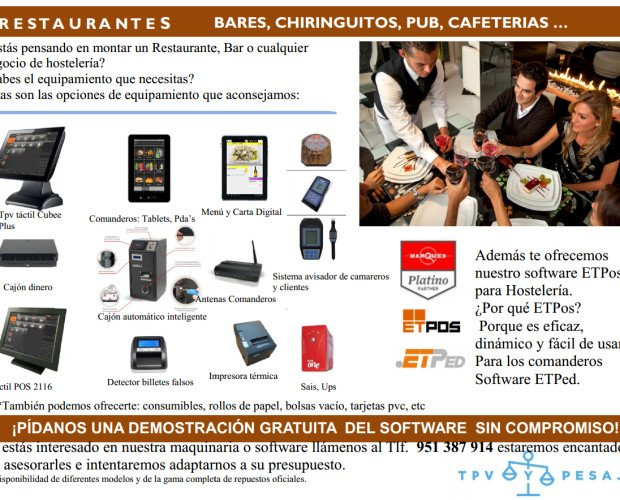 Folleto  Bares y Restaurantes Tpv. Equipamiento Bares, Restaurantes, Cafeterias.