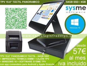 PACK TPV KT-100 Táctil 15,6 - desde 57€ al mes en 12 cuotas
