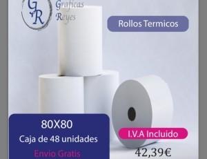Rollos térmicos 80X80 1 caja envío gratis