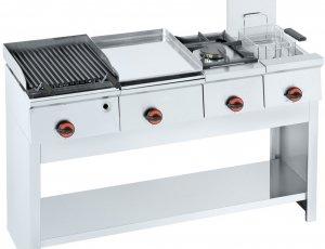 Cocina modular Barbacoa+plancha+hornillo+freidora+soporte 45