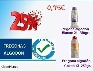 25% de descuento comprando fregonas de algodón XL