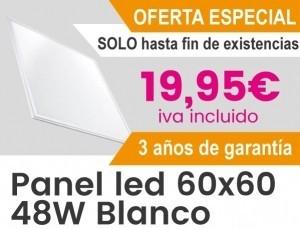 Panel Led 60x60 48w por 19,95 € iva incluido. 3 años de gtia