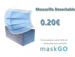 Mascarilla Desechable a 0.20 €, precio por 2000 unidades